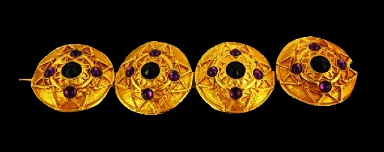 Moghul bracelet. Gold tone metal, art glass