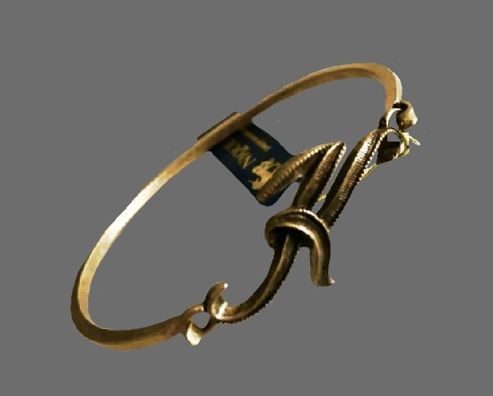 Monogram Script K Bangle Bracelet of antique gold tone