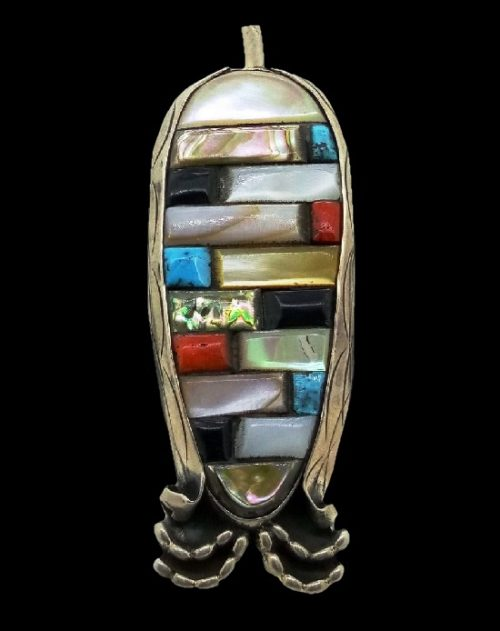 Multi-Gemstone Inlay sterling silver pendant