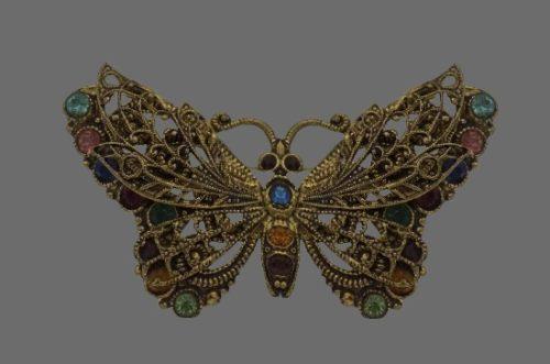 Multicolor crystal butterfly brooch