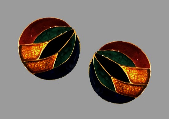 Multicolor enamel round shaped clip on earrings