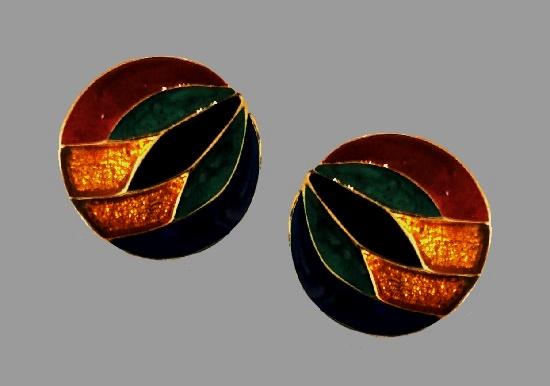 Multicolor enamel round shaped clip on earrings