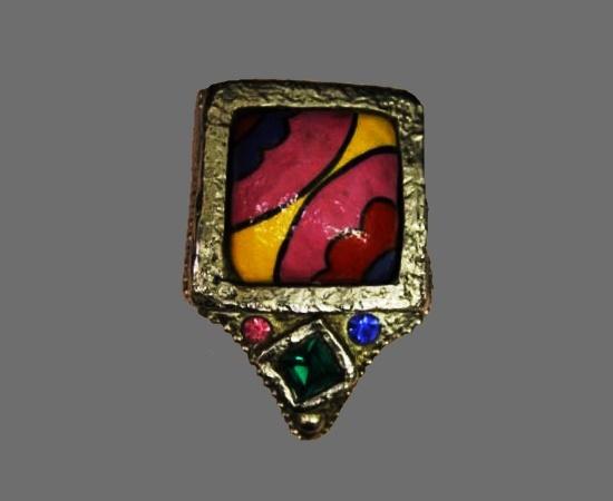 Multicolor enamel silver tone rhinestones pin