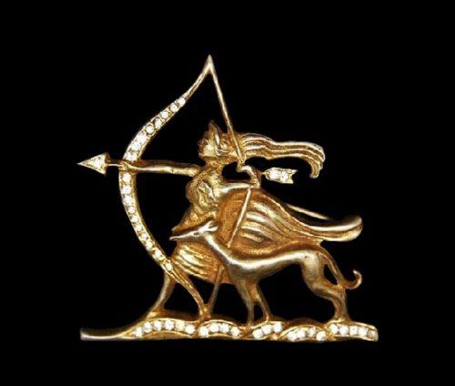 Mythological Diana Huntress gold plated rhinestones brooch
