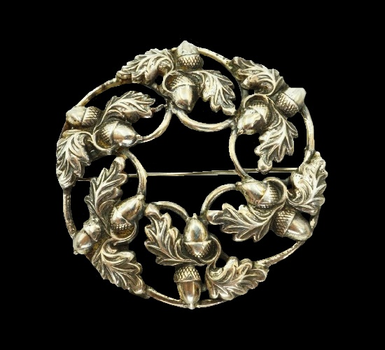 Oak leaves and acorns brooch. 925 Sterling silver