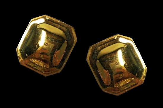 Octagon gold plated earrings. 1994