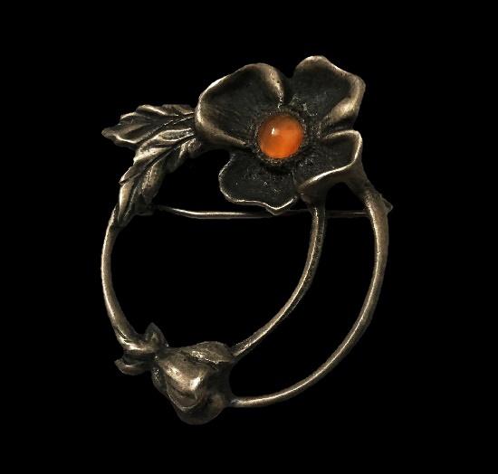 Orange stone dogwood flower brooch pin