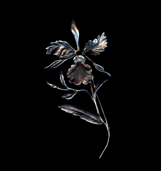 Orchid flower sterling silver volume brooch