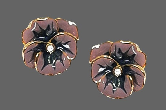 Pansy flower clip on earrings. Purple and blue enamel gold tone