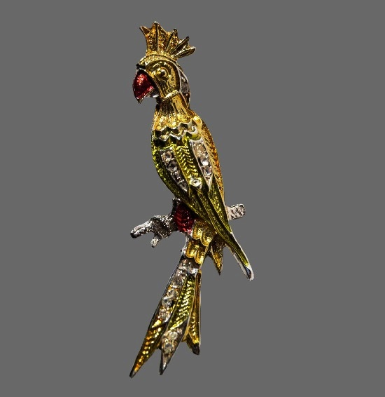 Parrot Brooch. Jewelry alloy silverplated, crystals, enamel. 1950, Marked Czecho, 5 cm