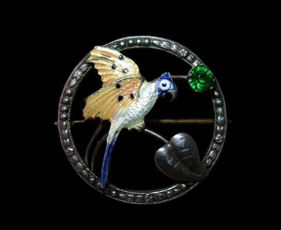 Parrot circle pin. Sterling silver, enamel. 3.5 cm