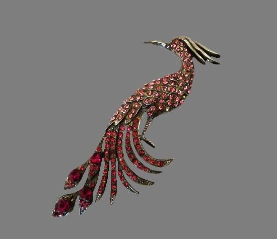 Peacock bird silver plated rhinestone brooch pin