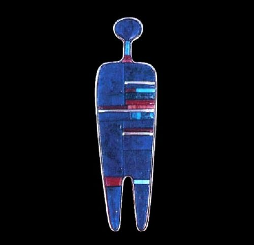 Pendant. Stylized form of a man in 18k gold, the figure comprising blocks of lapis with turquoise and coral accents. 1981