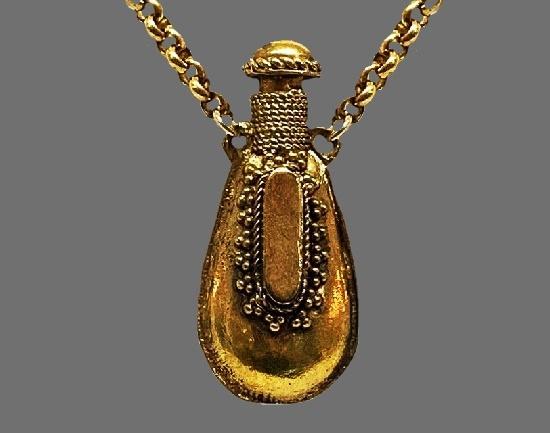 Perfume Bottle gold tone pendant