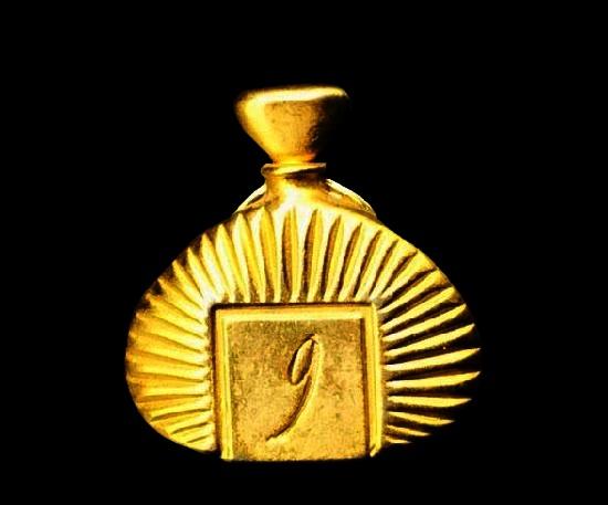 Perfume bottle gold tone pin. 2.7 cm. 1980s