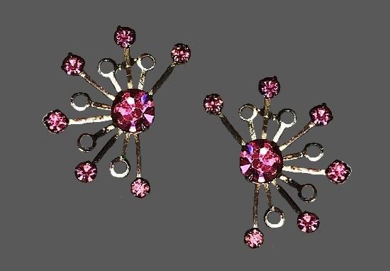 Pink rhinestone silver tone metal clip on earrings