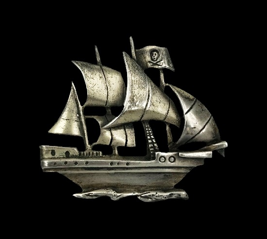 Pirate Ship sterling silver pin
