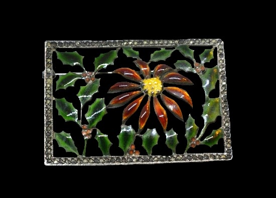 Poinsettia and holly perfume brooch. Sterling silver, enamel, marcasite. 1920s
