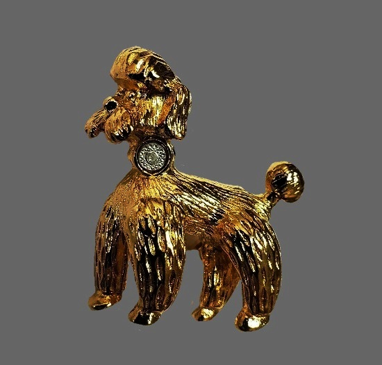 Poodle Dog gold plated brooch