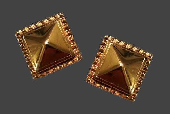 Pyramid gold tone clip on earrings