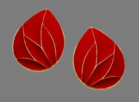 Red enamel gold tone clip on earrings