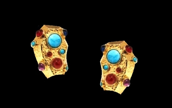 Rock for Ages series clip on earrings. Multicolor stones, gold tone hammered metal