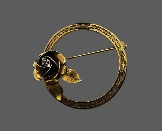 Rose flower filigree design brooch and earrings. 12 K gold filled. 1960s