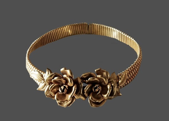 Rose flower gold plated silver choker necklace