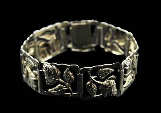 Rose flower vintage bracelet. 1952. Silver, gold filled
