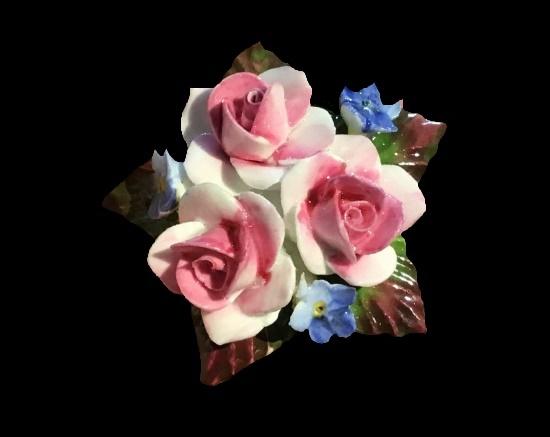 Rose flowers bone china brooch
