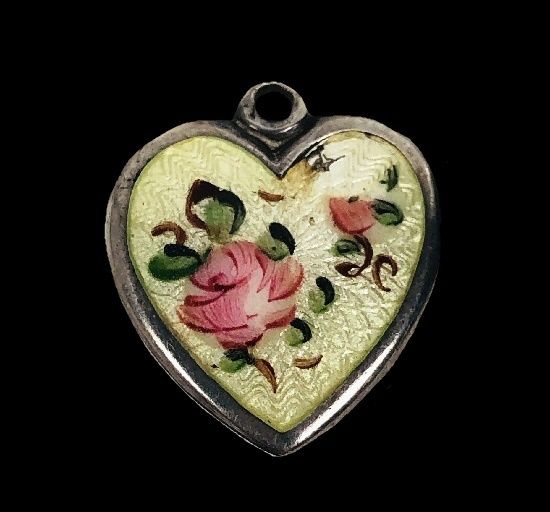 Rose heart charm pendant. Sterling silver, enamel