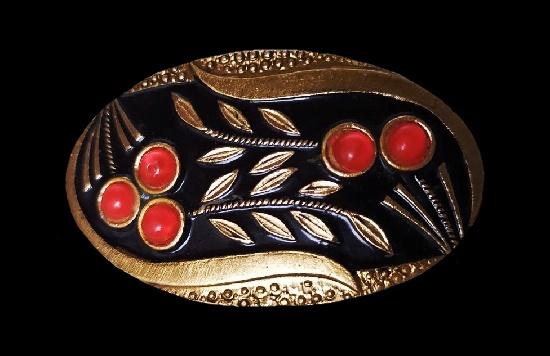 Rowan brooch. Gold tone metal, lucite, enamel. 1970s