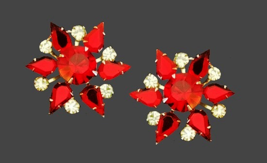 Ruby red and clear rhinestone clip on earrings