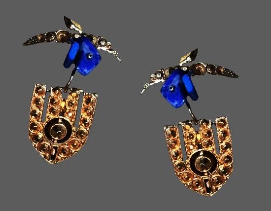 Sapphire blue art glass marcasites gold tone earrings