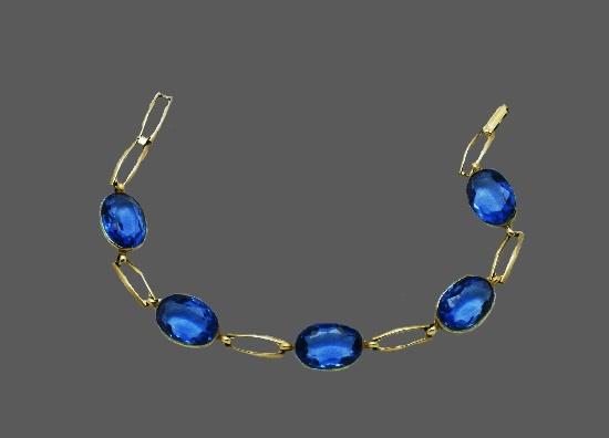 Sapphire blue faceted silver bracelet