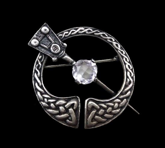 Scottish Kilt brooch. Celtic pattern engraved sterling silver, pink quartz