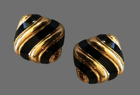 Shell gold tone black enamel earrings