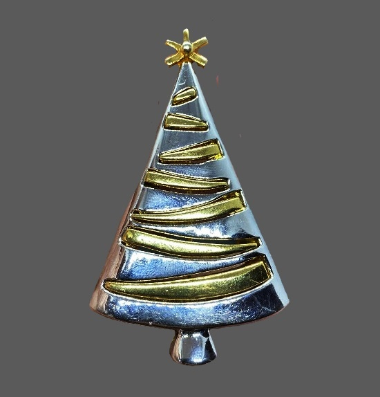 Silver and gold tone Christmas tree brooch pin
