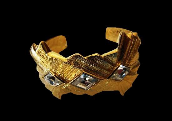 Smoky quartz gold tone bracelet. 1980s