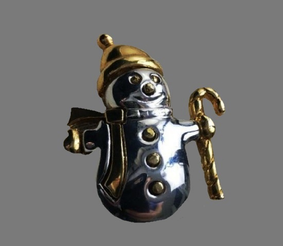 Snowman silver and gold tone metal brooch