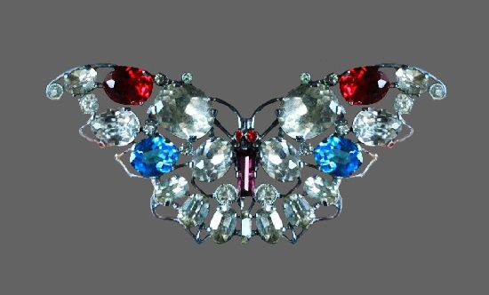 Sparkling butterfly brooch. Silver tone metal, rhinestones, signed czecho. 6.5 cm, before 1950