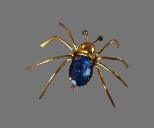 Spider brooch. bijouterie alloy, Czech glass, crystal, sapphire crystals, Swarovski crystals, glass. 6.5 cm. 1930s. Marked Czechoslariue