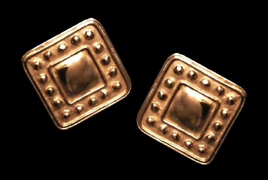 Square shaped gold tone clip on earrings