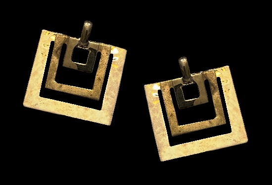 Squares sterling silver brass dangle earrings