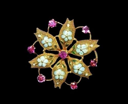Star flower brooch. 14 K gold, pink zircon
