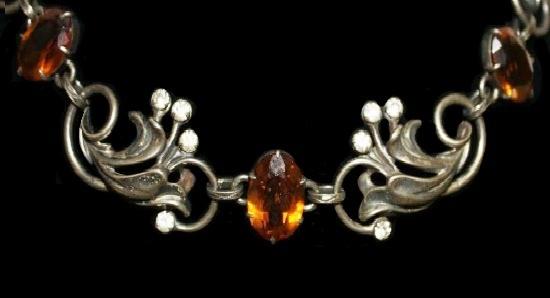 Sterling silver Citrine rhinestones necklace