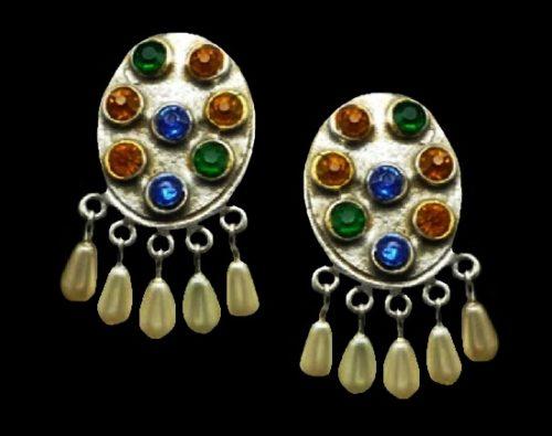 Sterling silver faux pearls rhinestones oval shaped dangle earrings. 1940s