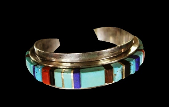 Sterling silver, ironwood, coral, lapis, onyx, turquoise and 14K gold bracelet