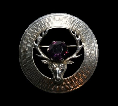 Stug circle pin and earrings. Textured sterling silver, amethyst glass. 1953