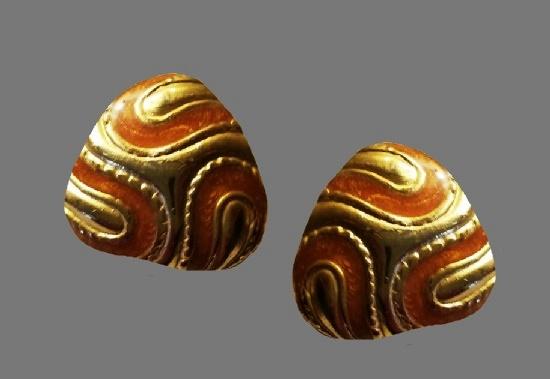 Swirl design enamel gold tone clip on earrings